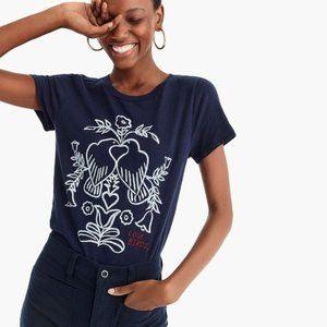 J. Crew Love Birds Graphic Navy T-shirt size XS